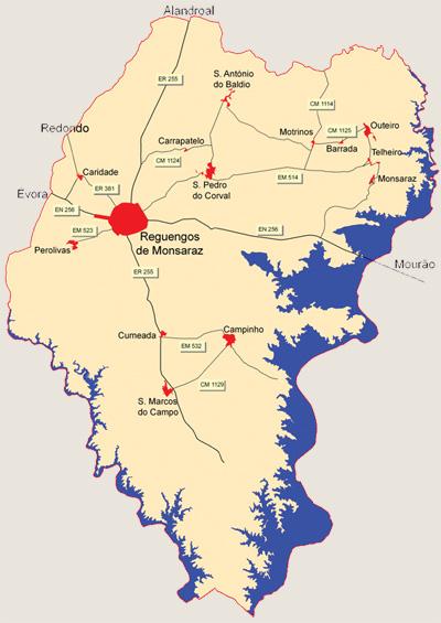 reguengos de monsaraz mapa Como chegar ao Concelho reguengos de monsaraz mapa
